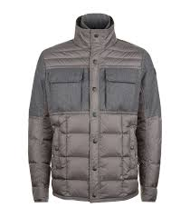 moncler albi padded jacket grey zip fastening with press stud placket leather logo patch 6074822 ppxscxs