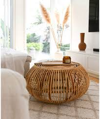 basic round rattan coffee table with