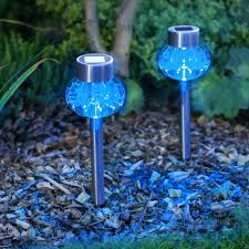 outdoor solar lighting ideas. Lovely Blue Outdoor Solar Lighting With Stainless Top Ball Design Ideas