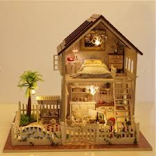 homemade dollhouse furniture. assembling diy doll house wooden houses miniature dollhouse furniture kit room led lights giftin from toys u0026 hobbies on aliexpresscom homemade