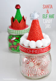 Decorated Candy Jars Santa and Elf Hat Candy Jars 37