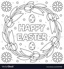 Happy Easter Coloring Page Pdf With Wreath Royalty Free Vector Image