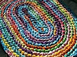 blue rag rug blue rag rug bright pastel crocheted large how to make blue jean rag