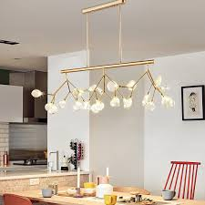 modern tree branch large pendant light dining table ceiling lamp glass shade
