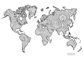 World map coloring page to download and print. Free Printable World Map Coloring Page Wildjunket