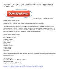 calaméo bobcat 641 642 643 skid steer loader service repair calaméo bobcat 641 642 643 skid steer loader service repair manual
