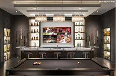 basement sports bar ideas. Modern Man Cave With An Illuminating Bar, A Black Pool Table, Open Shelving All Around And Of Course, Four TVs In Front. Who Wants It? Basement Sports Bar Ideas R