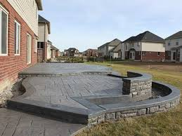 stamped concrete patio with fireplace. Divine Arizona Flagstone Patio Stamped Concrete With Fireplace