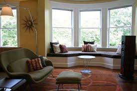 Bay window furniture living Stylish Bedroom With Bay Window Working Area And Storage Lushome 30 Bay Window Decorating Ideas Blending Functionality With Modern