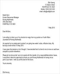 2 Week Notice Letter For Work Sample 2 Week Resignation Letter 6 Examples In Word Pdf