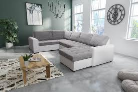 Wohnlandschaft Sofa Couch Ecksofa Eckcouch In Weiss Hellgrau Fox 1