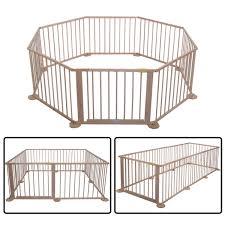 costway baby playpen 8 panel wooden frame kids play center yard indoor outdoor 0