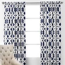 White Patterned Curtains Enchanting Window Treatments Elton Panels Navy And White Geometric Drapes
