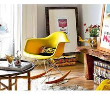 eames inspired rocking chair.  Chair Charles Ray Eames Style RAR Rocking Chair  Yellow Inside Inspired