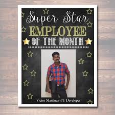 Employee Of The Month Photo Frame Editable Employee Of The Month Printable Office Printable Etsy