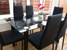 glass dining room table and chairs stunning glass black dining table set 6 faux leather chairs