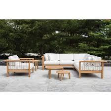 Wood outdoor sectional Wood Patio Maro Piece Teak Sunbrella Sectional Set With Cushions Wayfair Sectional Wood Patio Conversation Sets Youll Love Wayfair
