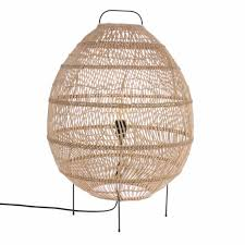 Hk Living Vloerlamp Ovaal Handgevlochten Beige Riet 50x50x72cm