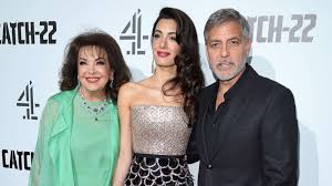 George and Amal Clooney bring Amal's mother Baria Alamuddin to the  'Catch-22' red carpet - ABC News
