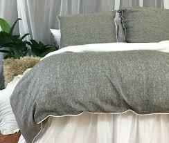king linen duvet cover chambray grey linen duvet cover with soft white piping 2 california king