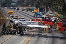 Westbound 105 Freeway reopens after fiery tanker-truck collision ...