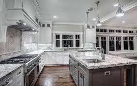 contemporary kitchen with white granite countertops