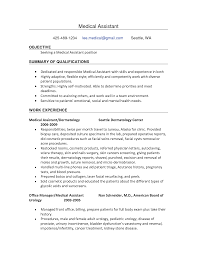 resume examples  resume examples for medical assistant customer    resume examples for medical assistant for objective   summary of qualifications and work experience
