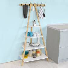 Wall Shelf Coat Rack Haotiangroup Rakuten SoBuy FRG100WN Ladder bookcaseladder 43