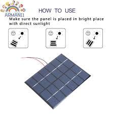 ARMANI Tấm Pin Năng Lượng Mặt Trời Cầm Tay 2w 6v 330ma - Pin sạc dự phòng  di động