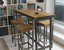 Narrow bar table Wrought Iron Handmade Bespoke Modern Industrial Long Narrow Bar Table And Stools Custom Made Steel Metal Wood Rustic Breakfast Bar Cafe Restaurant Pinterest Handmade Bespoke Modern Industrial Long Narrow Bar Table And Stools