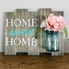 Home Sweet Home Sign, Vintage Blue Ball Mason Jar, Rustic home decor,  housewarming gift, shabby chic decor