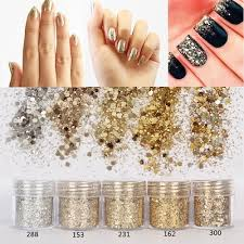 1 Box 10ml Mixed Nail Art Glitter Powder Champagne Gold ... - Qoo10