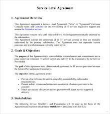 Service Level Agreement Template Sufficient Example Marevinho