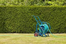 blue heavy duty garden hose reel trolley for garden watering on dried out lawn that