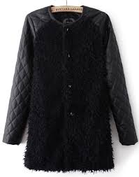 black contrast pu leather long sleeve faux fur coat