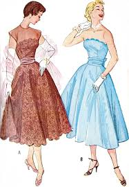 Prom Dress Sewing Patterns Fascinating 48s Beautiful Evening Dress Pattern Strapless Version Full Skirt