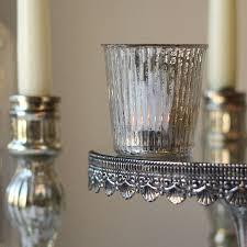 ribbed mercury glass tea light holder