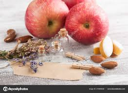 craft paper rustic decor lavender flowers apples wooden table stock image