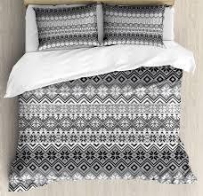 nordic duvet cover set knitting theme chevron pixel art pattern scandinavian ornament classic motifs decorative bedding set with pillow shams grey white