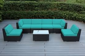 patio couch set. Ohana All Weather Outdoor Patio Furniture Wicker Sectional 7 Pc Seating Backyard Sofa Set. Couch Set