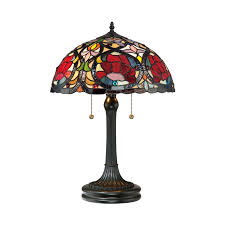 hartnell hall stained glass rose design table lamp black country metal works