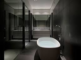 black bathroom. With Black Wall Tiles To Avoid Needing Apply An Abundance Of White Balance The Rooms Composition. Lustre Is A Subtle, Chic Way Making Bathroom D