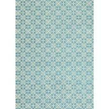 washable fl tiles aqua blue 5 ft x 7 ft stain resistant area rug
