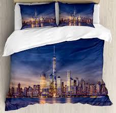 city duvet cover set new york skyline manhattan after sunset metropolis downtown urban panorama usa decorative bedding set with pillow shams