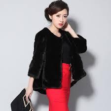 las faux fur coats jackets for women 5xl plus sizes o neck 2017 winter black short striped fluffy fake rabbit fur