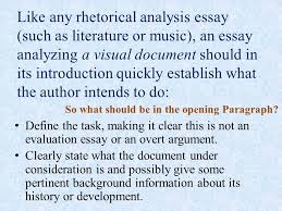 the visual analysis paper ppt video online  like any rhetorical analysis essay such as literature or music an essay analyzing 5 the intro can