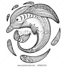 Small Picture Zentangle stylized image of totem animal dolphin Adult anti