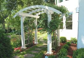 2 curved arbor over flagstone path