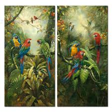 frameless parrot birds painting tropical forest print handpainted oil painting on canvas realist cuadros wall decor for home in painting calligraphy from
