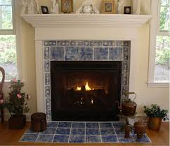 tiles fireplace tile ceramic tile blue color with clock plant and window